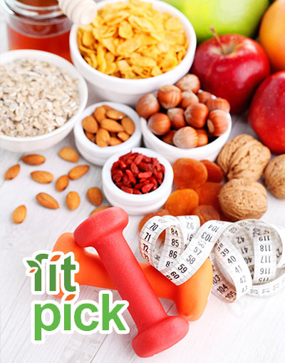 Dried fruits and nuts with the FitPick logo