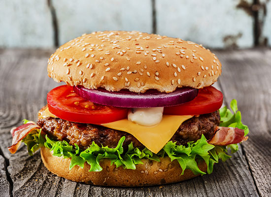 Hot and fresh hamburger with cheese