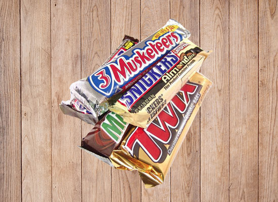 Variety of candy bars